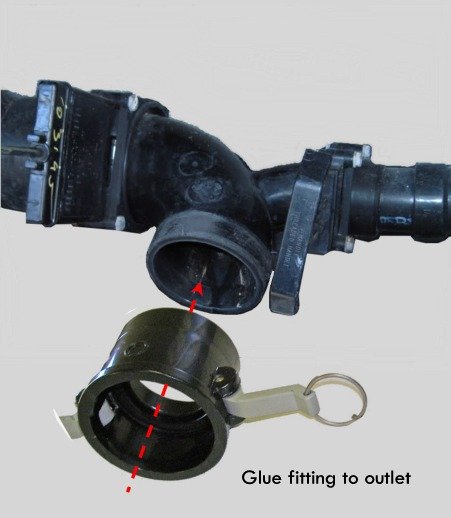 Glue cam lock to sewer RV outlet