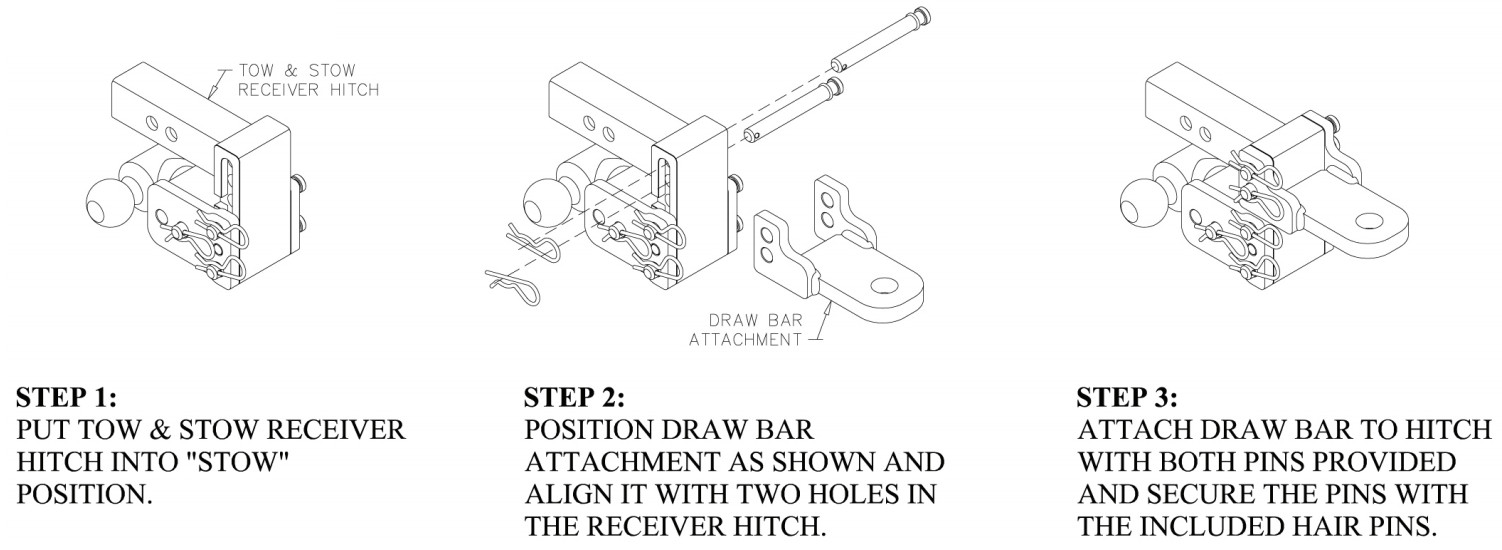 Bw Ts35100b Tow Stow Draw Bar Attachment 2 Trailer Hitch Coupler Diagram Hitches Shank Install Instructions