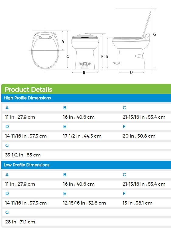 Thetford 34438 Aqua-Magic Style Plus Low Profile RV Toilet - Bone White